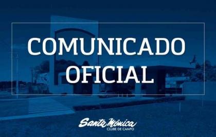 ATIVIDADES CONTINUAM SUSPENSAS NO SANTA MÔNICA CLUBE DE CAMPO